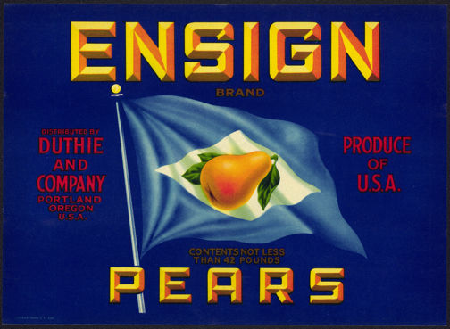#ZLC283 - Ensign Pear Crate Label - Blue Background