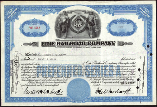 #ZZCE036 - Stock Certificate from the Erie Railroad Company