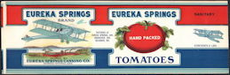 #ZLCA288 - Rare Large Eureka Springs Tomato Can Label - Early Airplane Pictured
