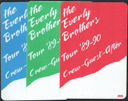 ##MUSICBP0785 - Group of 3 Different Scarce The Everly Brothers OTTO Cloth Backstage Passes from the 1989-90 Tour