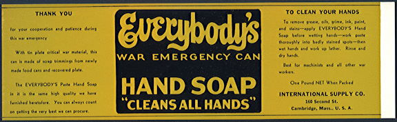 #ZLCA268 - Everybody's Hand Soap War Emergency Can Label - WWII