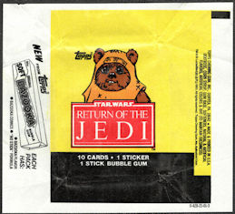 #ZZA274 - Star Wars Return of the Jedi Waxed Card Pack Wrapper Picturing an Ewok - Topps