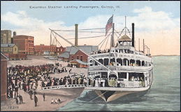 #ZZZ140 - Unused Steamboat Postcard - Excursion Steamer Landing Passengers, Quincy, Ill.