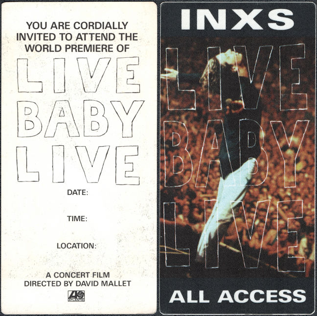 ##MUSICBP0797 - INXS All Access OTTO Cloth Backstage All Access Pass for the 1991 Live Baby Live Concert Film