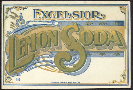 #ZLS175 - Excelsior Lemon Soda Hutchinson Bottle Label - Turn of the Century