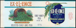 #ZLCA245 - Rare Ex-El-Ence Wisconsin Early June Peas Can Label - As Low as $1 each