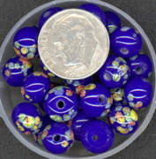 #BEADS0020 - 8mm Cobalt Glass Japanese Millefiori Flower Bead