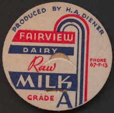 #DC156 - Fairview Dairy Deco Raw Milk Bottle Cap