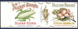 #ZLCA315 - Scarce Falcon Brand Sugar Corn Can Label - Clinton, NY