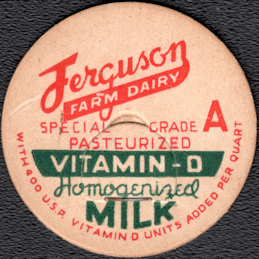 #DC212 - Scarce Ferguson Farm Dairy Homogenized Milk Bottle Cap