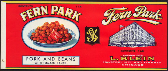 #ZLCA214 - Fern Park Pork and Beans Can Label - Chicago