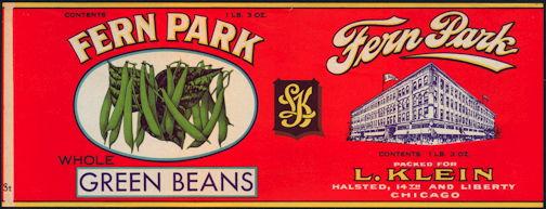 #ZLCA259 - Fern Park Brand Green Beans Can Label