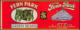#ZLCA259 - Fern Park Brand Green Beans Can Label