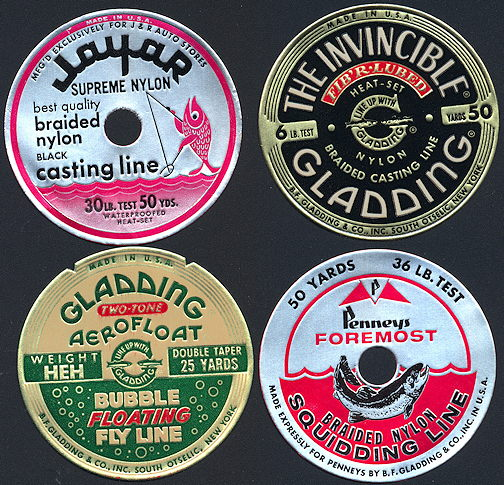 #ZBOT181 - Group of 4 Gladding Fishing Spool Labels