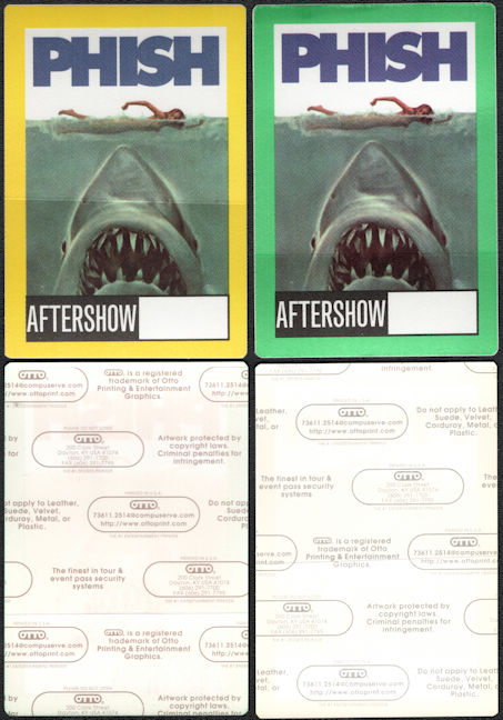 ##MUSICBP0100  - Pair of Two Different Colored PHISH Jaws OTTO Backstage Passes