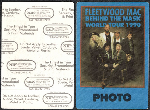 ##MUSICBP0556  - Fleetwood Mac OTTO Cloth Backstage Photo Pass from the 1990 Behind the Mask Tour
