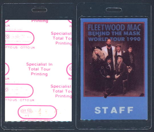 ##MUSICBP0153 - Fleetwood Mac OTTO Laminated Staff Backstage Pass from 1990 Behind the Mask Tour
