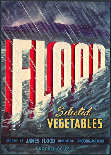 #ZLC375 - Flood Brand Vegetables Crate Label