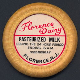 #DC178 - Large Florence Dairy Pasteurized Bottle Cap