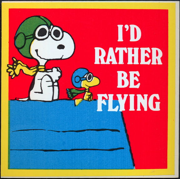 #CH414 - Group of 4 Snoopy I'd Rather Be Flying Stickers