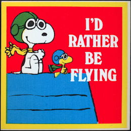 #CH414 - Group of 12 Snoopy I'd Rather Be Flying Stickers