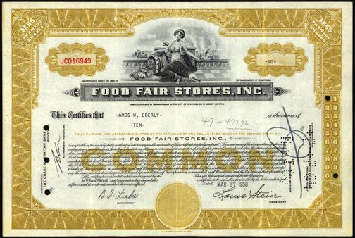 #ZZCE058 - Food Fair Stores, Inc. Stock Certificate