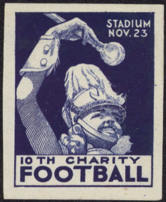 #BA703 - Scarce Charity Football Poster/Cinderella Stamp Picturing Cheerleader