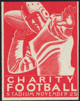 #BA704 - Scarce Charity Football Poster/Cinderella Stamp Picturing Quarterback