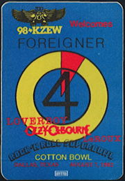 ##MUSICBP0466  - 1982 Cotton Bowl Promotional OTTO Backstage Pass for Foreigner, Ozzy, and Loverboy - 98 KZEW