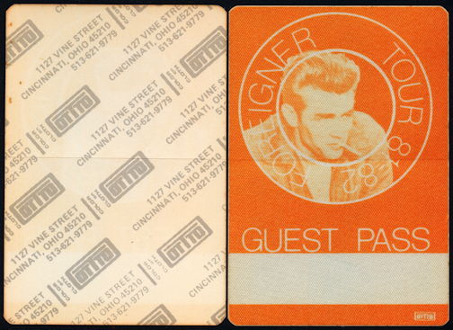 """##MUSICBP0359 - 1981 Cloth OTTO Backstage Guest Pass from the Foreigner """"4"""" Tour with James Dean Pictured"""