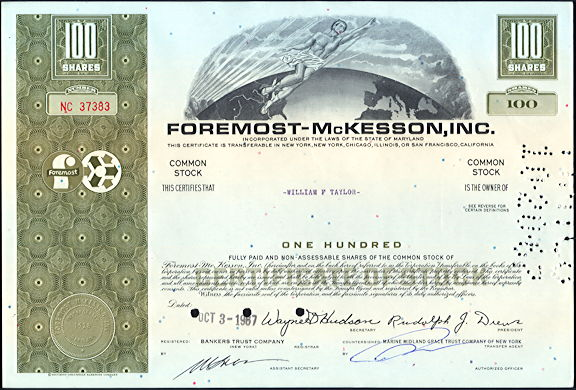 #ZZCE081 - Foremost-McKesson, Inc. Stock Certificate