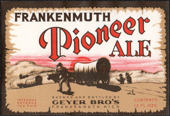 #ZLBE116 - Frankenmuth Pioneer Ale/Beer Bottle Label - Covered Wagon -  IRTP