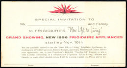 #ZZZ189  - Group of 3 Frigidaire 1956 Postcard Invitation to New Appliances and Contest