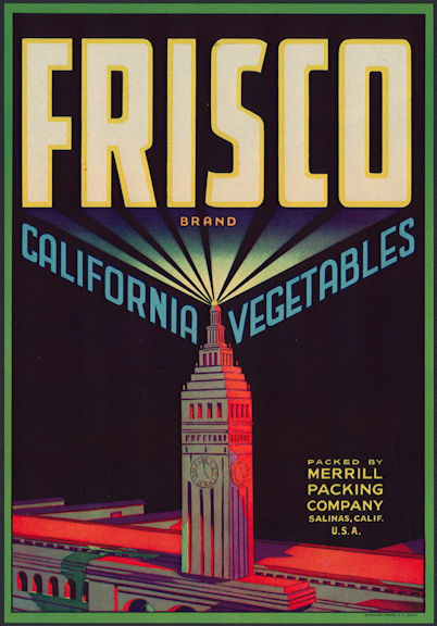 #ZLC409 - Frisco California Vegetables Crate Label