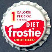 #BC137 - Group of 10 Cork Lined Diet 1 Calorie Frostie Root Beer Bottle Caps