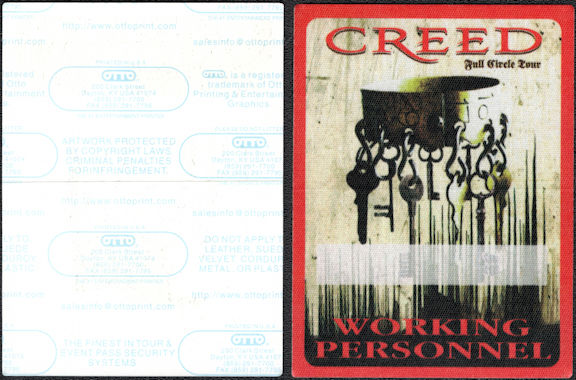 """##MUSICBP0549 - Group of 3 Different Colored Creed Working Personnel OTTO Cloth Backstage Passes from the 2009 """"Full Circle"""" Tour"""