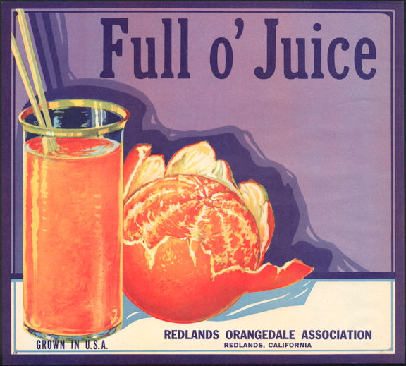 #ZLC364 - Full o' Juice Orange Crate Label