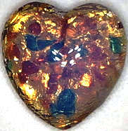 #BEADS0456 - 15mm Heart Shaped Glass Fire Opal Cabochon - As Low as 25¢ each