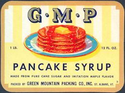 #ZBOT104 - G.M.P. Pancake Syrup Label