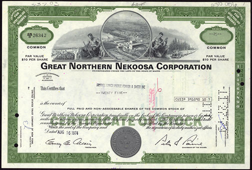 #ZZCE039 - Stock Certificate from the Great Northern Nekoosa Paper Corporation