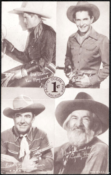 #ZZA277 - Ocean Park Penny Arcade Card Featuring Gabby Hayes, Johnny Mack Brown, Ken Maynard, and Bob Steele
