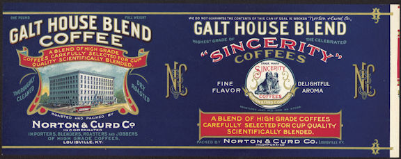 #ZLCA204 - Rare Galt House Sincerity Coffee Can Label