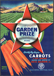 #ZLSH201 - Group of 12 Garden Prize Carrots Crate Labels - Baseball