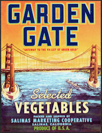 ZLSH404 - Group of 12 Garden Gate Brand Selected Vegetables Crate Labels - Golden Gate Bridge