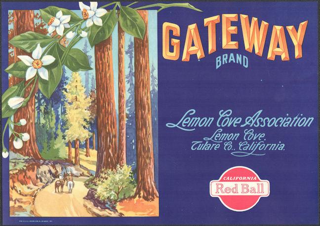 #ZLC471 - Gateway Lemon Crate Label - Giant Sequoias - Lemon Cove, CA