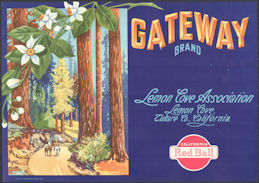 #ZLC471 - Gateway Lemon Crate Label - Giant Sequoias - Lemon Cove, CA