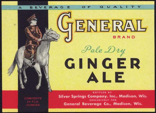 #ZLS149 - General Brand Pale Dry Ginger Ale Soda Bottle Label