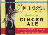 #ZLS149 - General Brand Pale Dry Ginger Ale Soda Bottle Label
