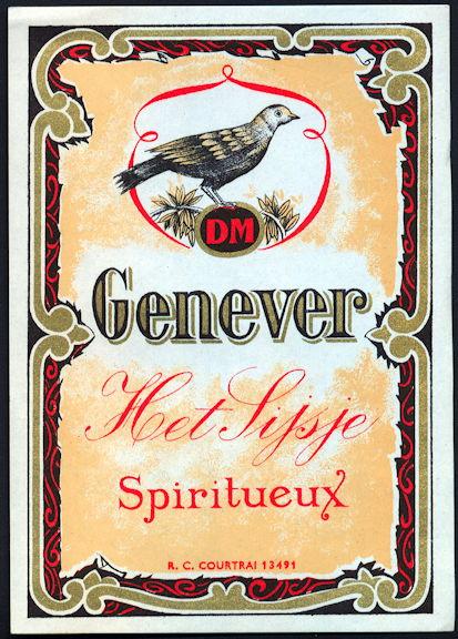 #ZLW150 - Genever Het Lijsje Spiritueux Dutch Gin Bottle Label