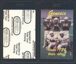 ##MUSICBP0075  - 1984 Genesis (Phil Collins) Laminated Backstage Pass from the Mama Tour